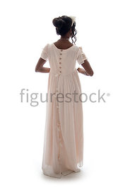 A Regency woman in a dress – shot from eye level.