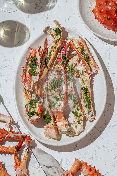King Crab with herb lemon sauce and white wine