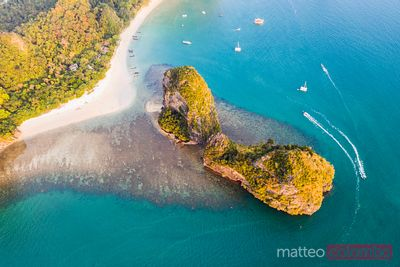 Aerial view of Ao Nang beach at sunset, Railay, Krabi, Thailand