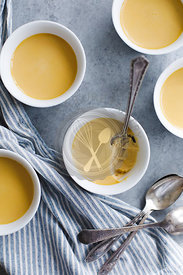Creme caramel butterscotch pudding in a white pot
