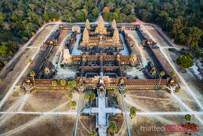 Aerial view of Angkor Wat temples at sunset, Siem Reap