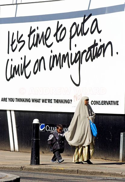 2005 general election campaign. Conservative Party election poster calling for limits to immigration as party leader Michael ...