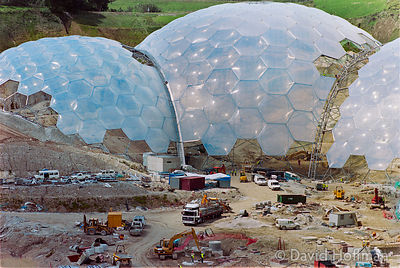 00062302-28 The Eden Project under construction in June 2000. Inside the two biomes are plants that are collected from many d...
