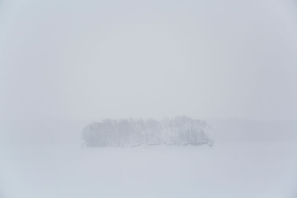 Brouillard sur le lac gelé Shumarinai et île couverte d'une forêt à Hokkaido, Japon / Fog over frozen Shumarinai lake and for...