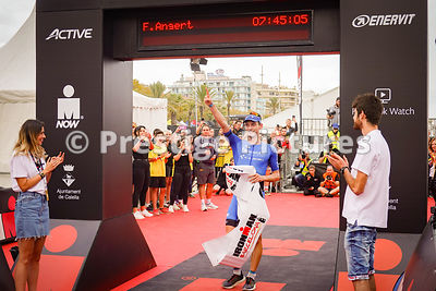 The winner of the Ironman Barcelona triathlon Florian Angert at the finish line
