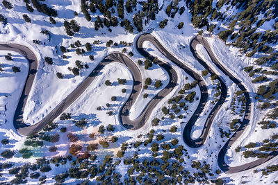 Austria, Tyrol, Kaunertal, glacier road in winter, aerial view