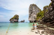 Adult couple at the beach, Phi Phi islands, Thailand