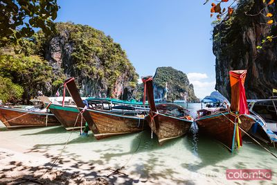 Longtail boats at Lading island, Krabi province, Thailand