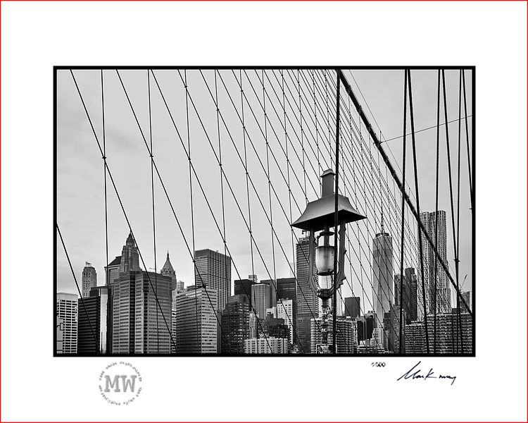 Linited edition wall print Brooklyn Bridge view