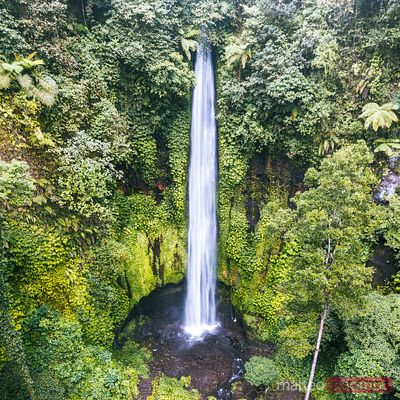 Aerial view of Pucak Manik waterfall in Bali