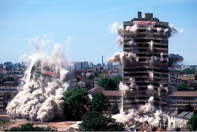 7-95 New Kingshold Estate, Hackney being demolished as part of programme of redevelopment to replace system built high rise b...
