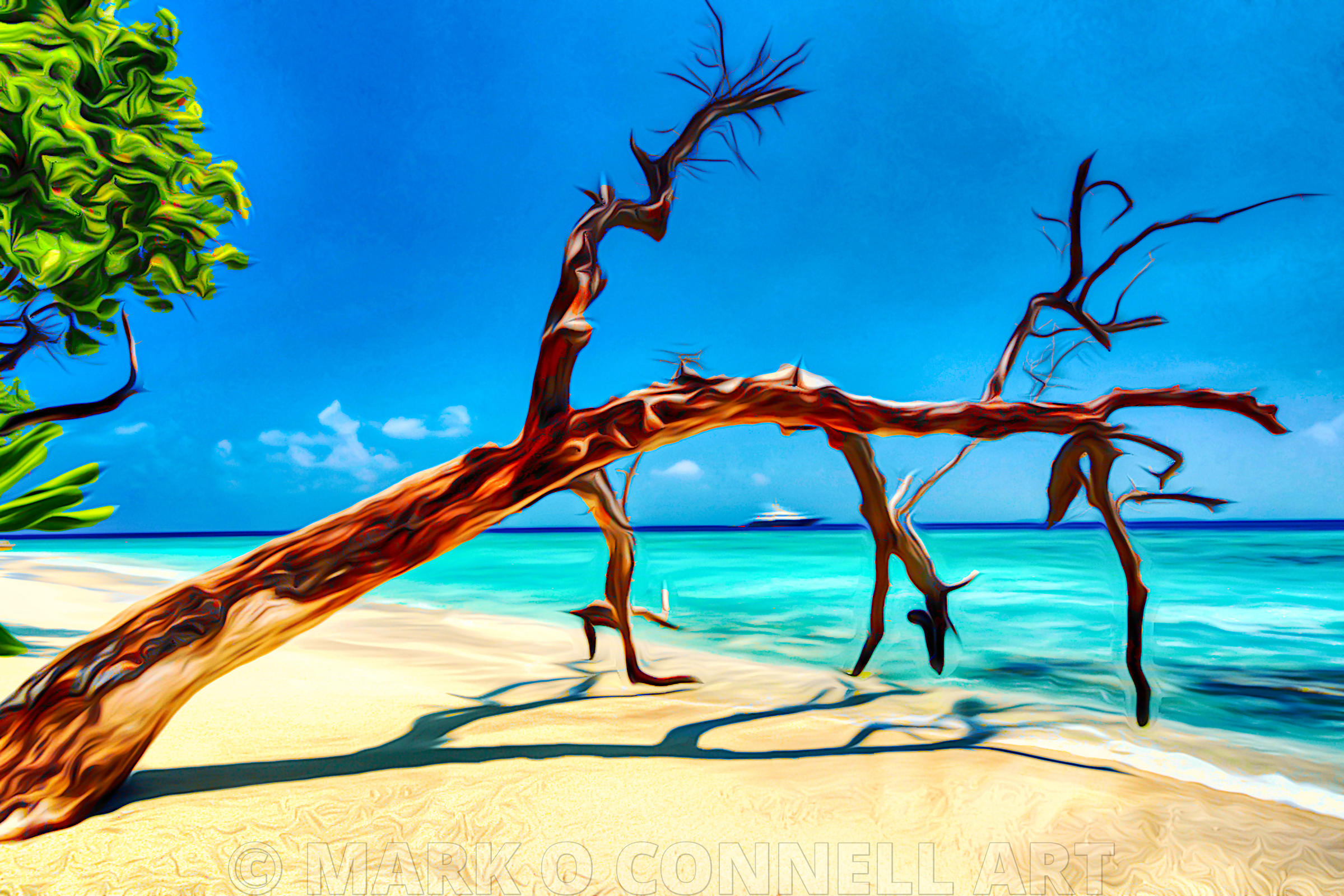 art,airbrush,abstract,painting,superyacht,liberty,maldives,tree,trunk,beach,sand,water,ocean,sea