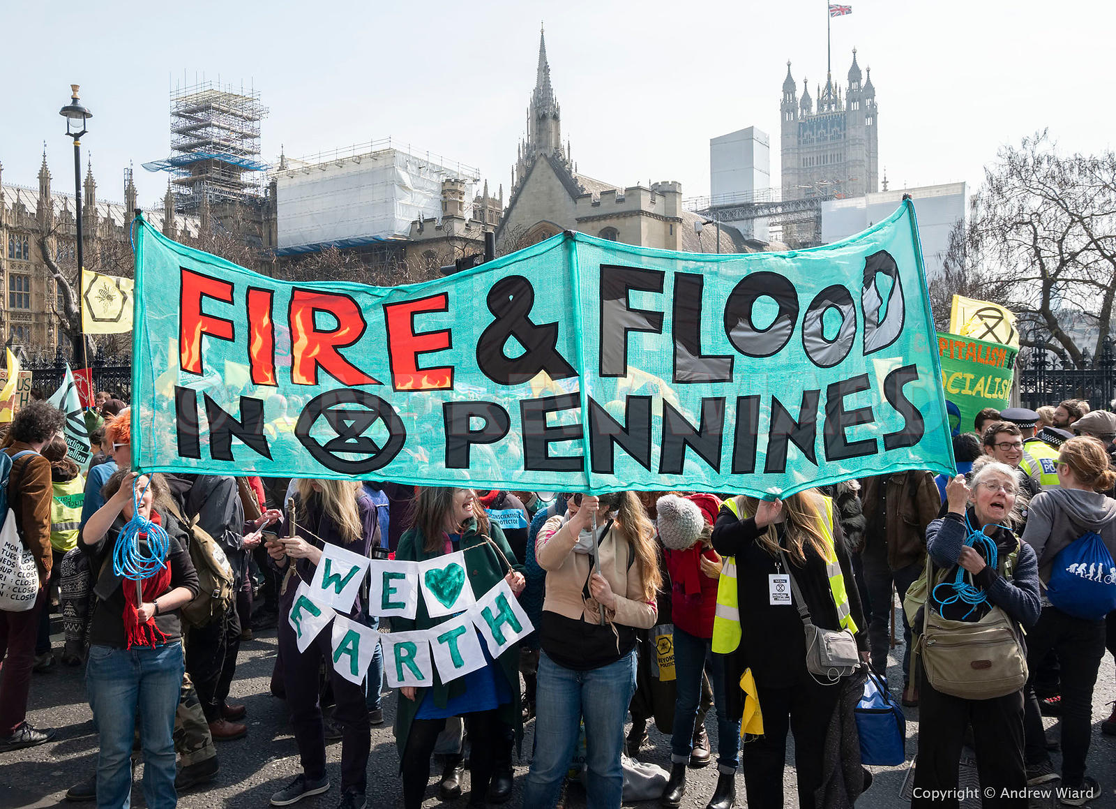 England, UK . 15.4.2019. London .Extinction Rebellion block five London landmarks – Waterloo Bridge, Marble Arch, Parliament ...
