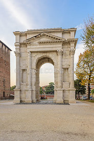 VERONA - ITALY, OCTOBER, 26, 2017: Arco dei Gavi is an ancient Roman triumphal arch from the first centuaty in Verona.