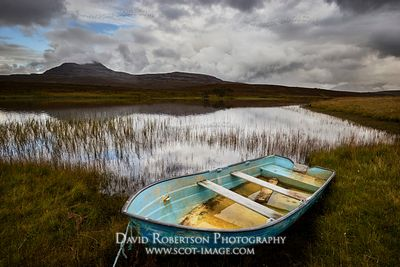 Image - Rowing boat and Loch Awe with Canisp behind, Assynt, Sutherland, Highland, Scotland