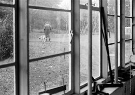 #72894   A.S.Neill and his dog going over to his house, seen through the carpentry workshop window, Summerhill school, Leisto...