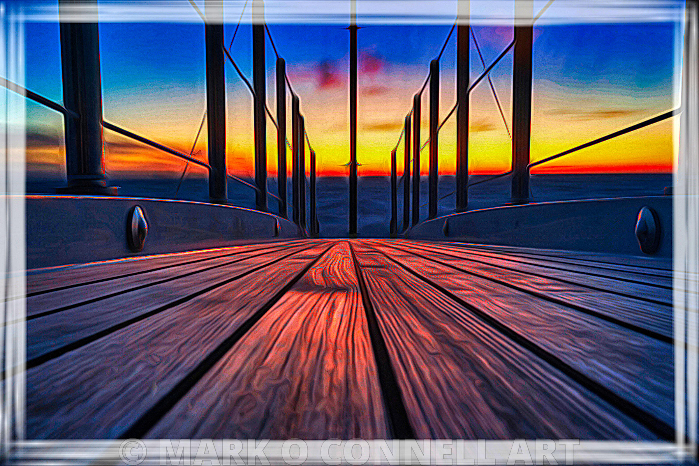 art,painting,airbrush,abstract,sunset,bow,deck,railings,superyacht,teak
