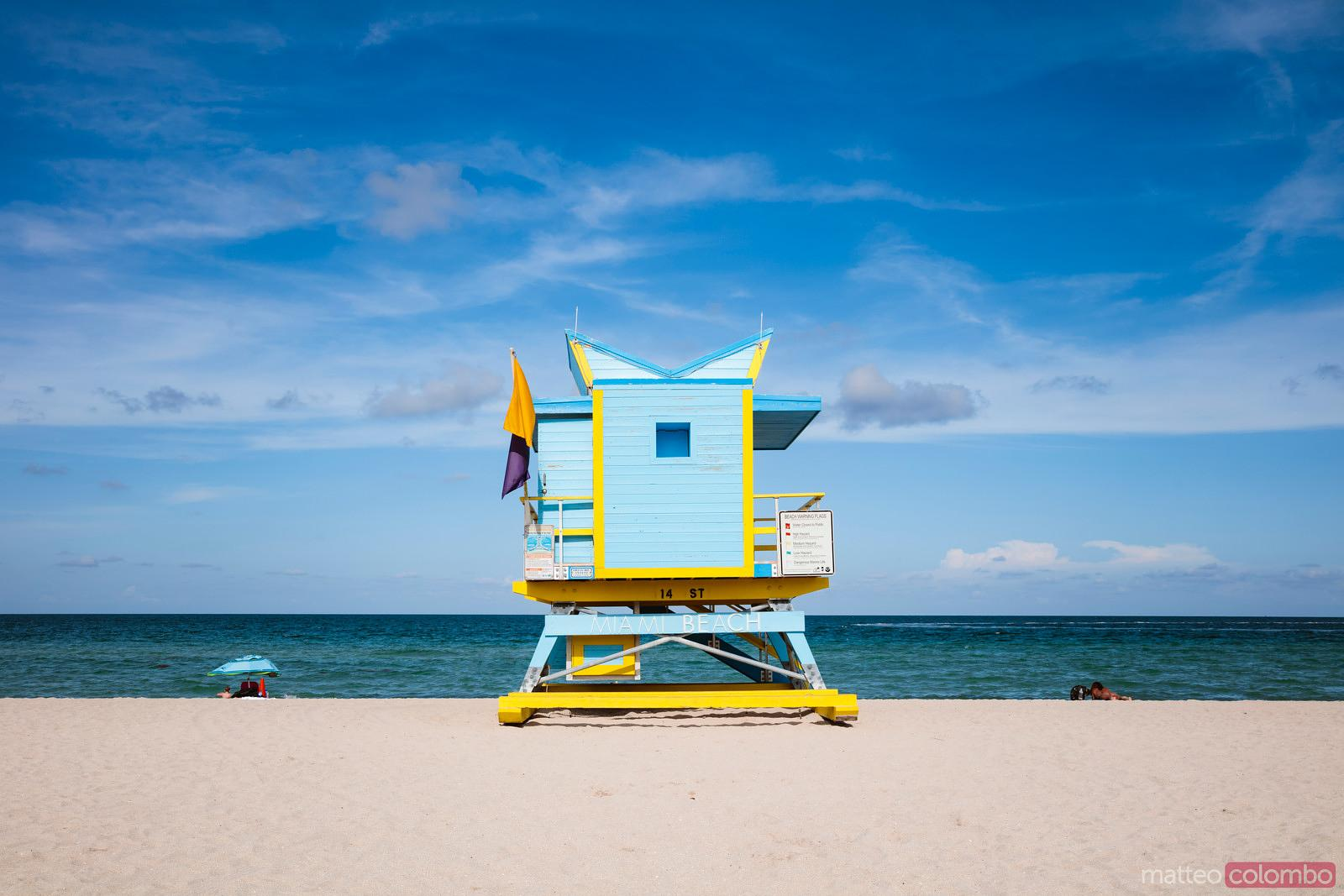 South beach iconic lifeguard hut, Miami, USA