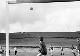 #83696,  Football on the school field, Whitworth Comprehensive School, Whitworth, Lancashire.  1970.  Shot for the book, 'Fam...