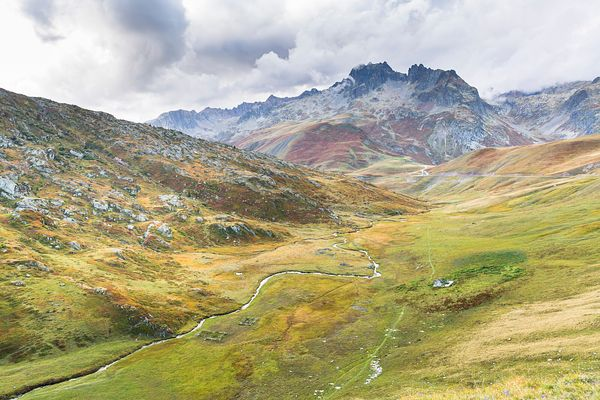 Landscape between the Col de La Croix de Fer and the Col du Glandon, Savoie, France