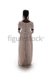 A silhouette of a Regency woman in a pink dress – shot from eye level.