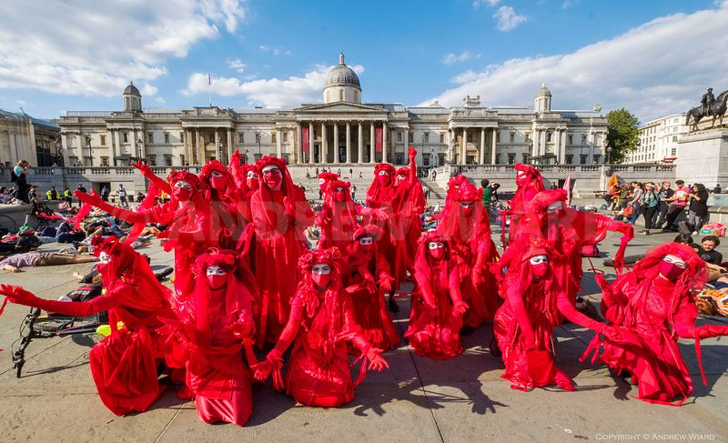 England, UK .2020. London. 1.9.2020. Extinction Rebellion begins 10 days of UK-wide climate action. The Red Brigade..