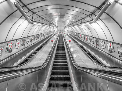 Escalator at subway station, London