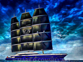 art,painting,airbrush,superyacht,black pearl,oceanco,sails,rig,sunset,dynarig