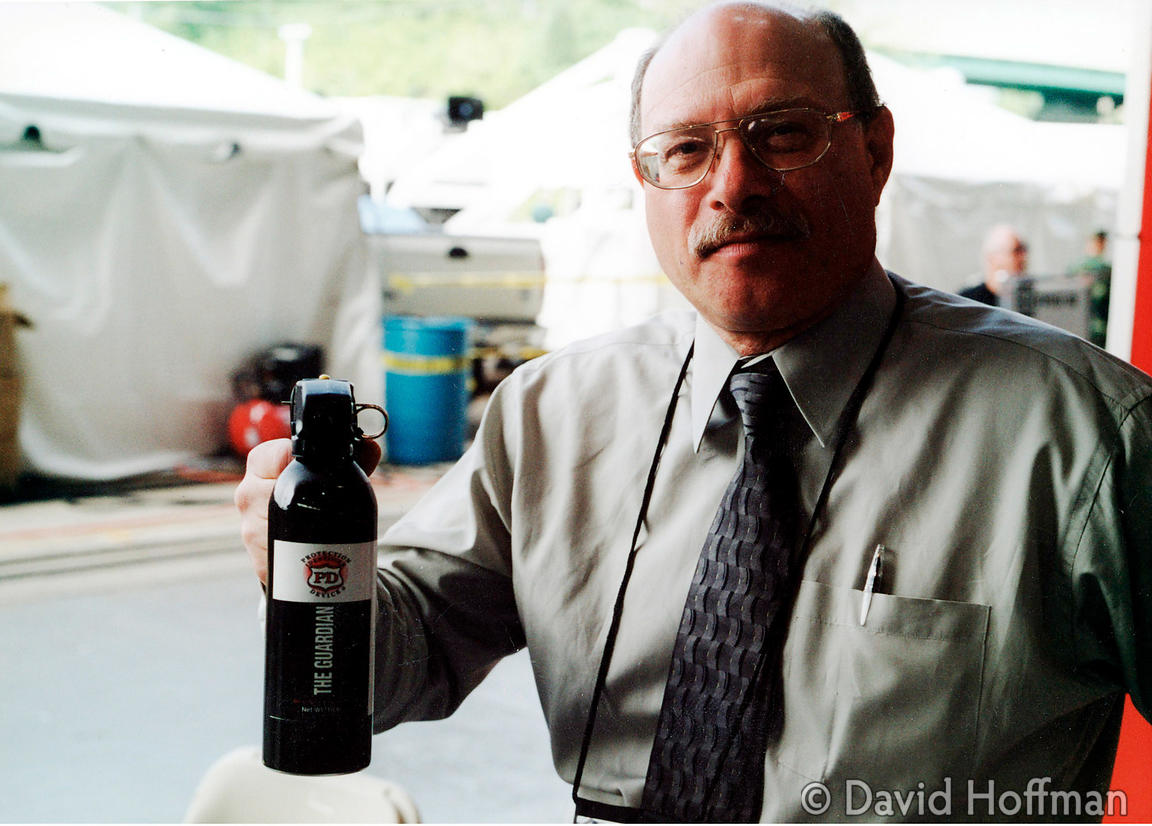 The Guardian pepperspray. LAOS Less Lethal Ammunition & Ordnance System at FPED III. Quantico Marine Corp HQ, May 2001.