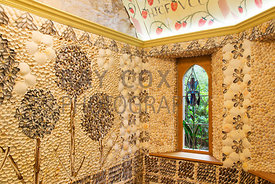 Shell House designed by Lachlan Stewart. Wall mosaics made from shells collected on Musselburgh beach