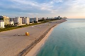 Aerial view of South beach at sunrise, Miami, Florida