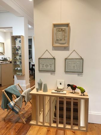 Seasonal Finds exhibting Ruth Packham's quirky birds, Helen Flynn's papercuts, Judith Stroud's prints, Alice Keeler jewellery