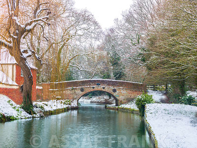 Bridge over canal at winter