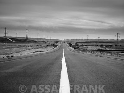 Empty road, Israel, middle east (B&W)