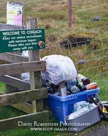 Image - Sign and pile of rubbish.  Welcome to Coigach.  Enjoy our uninque environment with minimum impact.Please take your li...