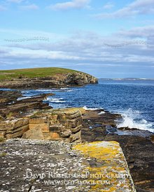 Image - Yellow lichen covered rock ao the South Walls coastline, Orkney, Scotland