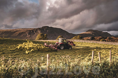 Tractor working on field in Lake District before sunset.