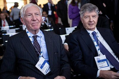 Sir David Walker, chairman of Winton Capital Management and former chairman of Barclays (L) and Gabriele Galateri di Genola, ...