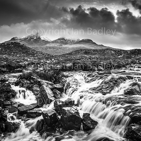 Waterfall on the River Sligachan,  Isle of Skye, Scotland BW