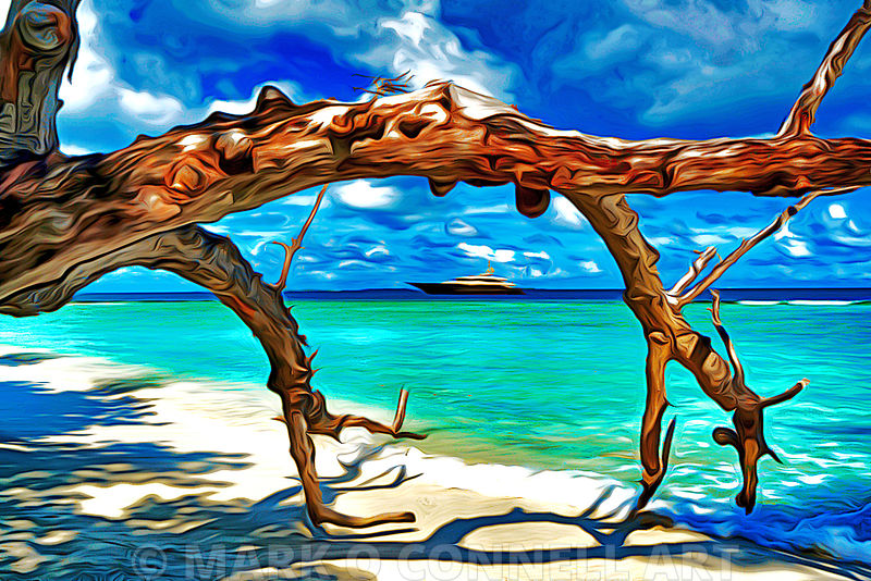 art,painting,airbrush,abstract,tree,trunk,beach,sand,water,sea,ocean,superyacht,liberty
