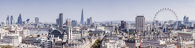 Panoramic view of central London towards the City.