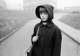 #83616,  Schoolgirl in the mist, Whitworth Comprehensive School, Whitworth, Lancashire.  1970.  Shot for the book, 'Family an...
