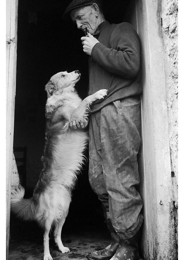 "#71408  Farmer with his working dog, Dunquin (in Gaelic, Dún Chaoin, meaning ""Caon's stronghold""), on the tip of the Dingle P..."