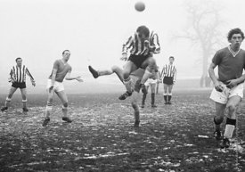 #120147,  Winter footballers, Stoke Park, Guildford, Surrey, 1967