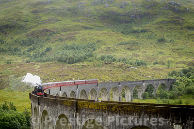 The Jacobite on Glenfinnan Viaduct in Scotland