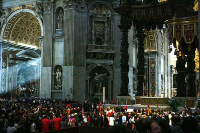 Pope John Paul II's body is lying in state in St. Peter's Basilica at the Vatican on April 6, 2005. Tens of thousands of peop...