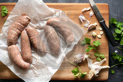 Angus Beef sausages seasoned with garlic and parsley.