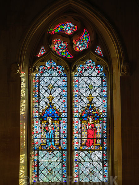 Colorful window of church in Tetbury, Cotswolds