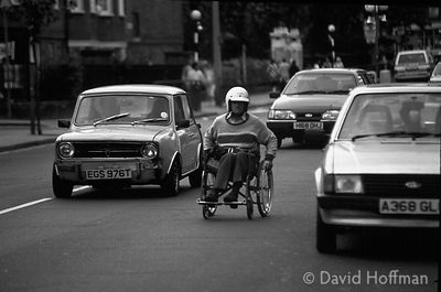 disabled man in traffic
