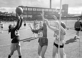 #83731,  Netball, Whitworth Comprehensive School, Whitworth, Lancashire.  1970.  Shot for the book, 'Family and School, Pengu...